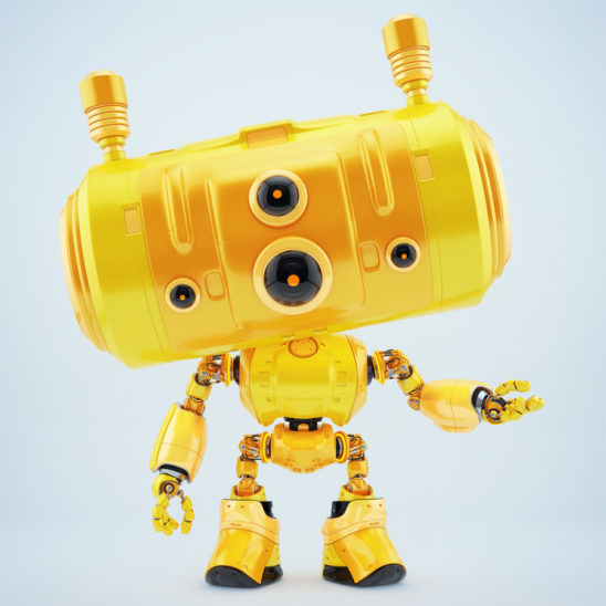 Bright orange robot with big head and smart ears antennaes gesturing