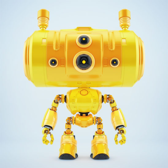 Smart orange big headed robot with antennaes in front