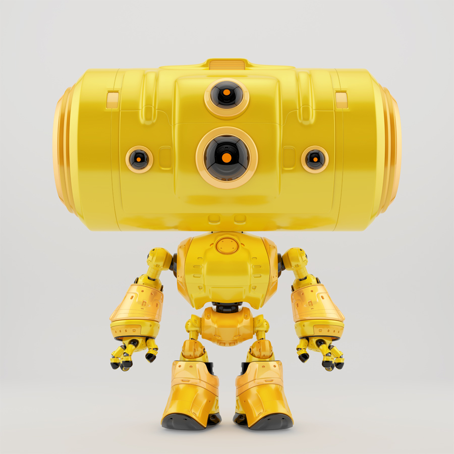 Orange big headed robot with several eyes - cameras in front