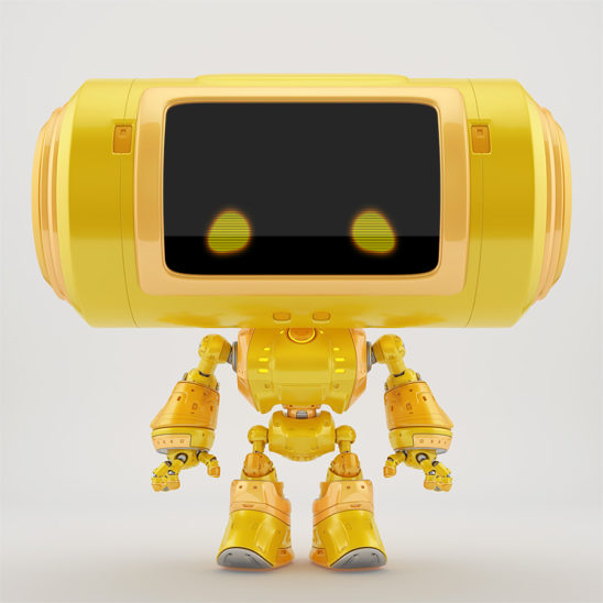 Orange big head robot with 2d eyes and reflection layer