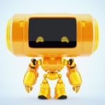 Orange big head robot with 2d digital eyes and reflection layer
