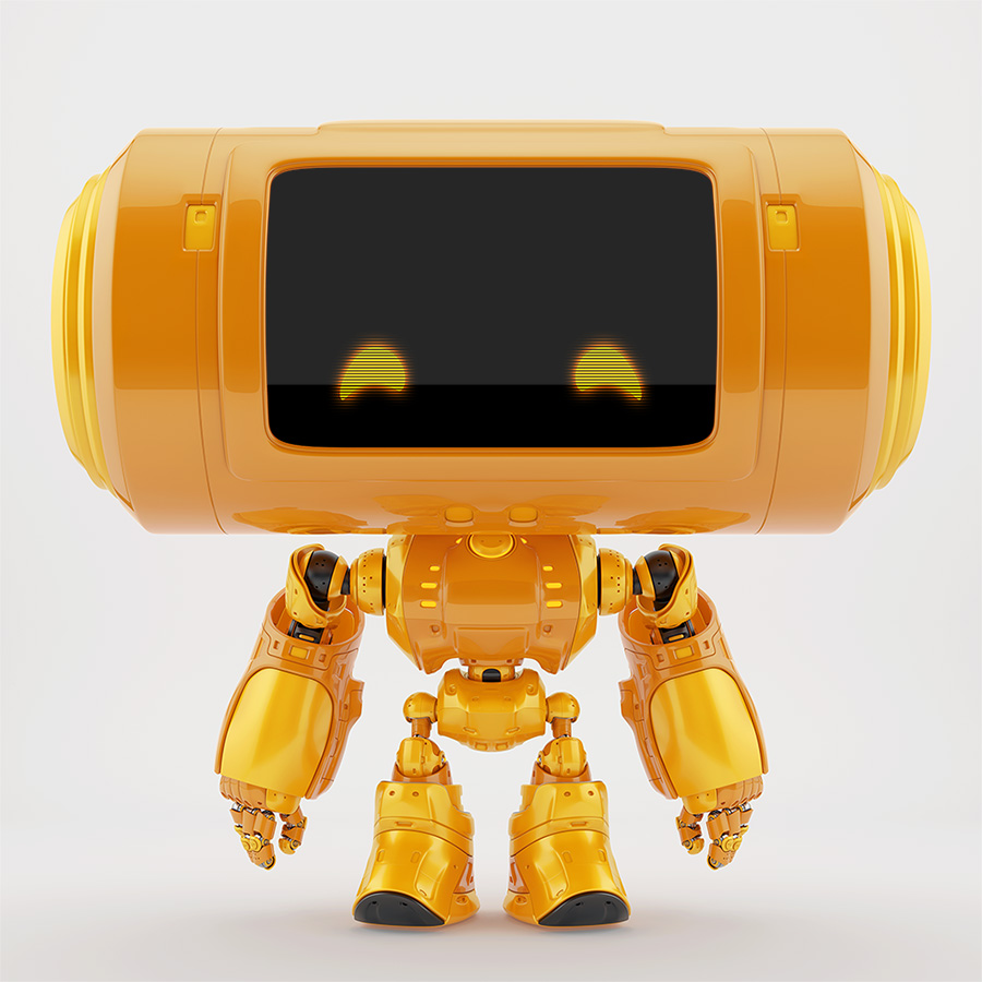 1340 big head robot thumb reflection
