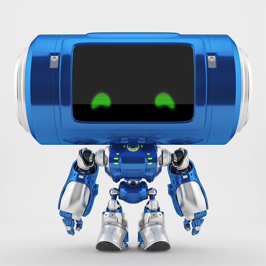 Blue robotic character with green eyes on digital face and smooth silver details