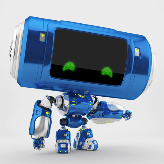 Interesting blue robot with tube-like big head pointing on something