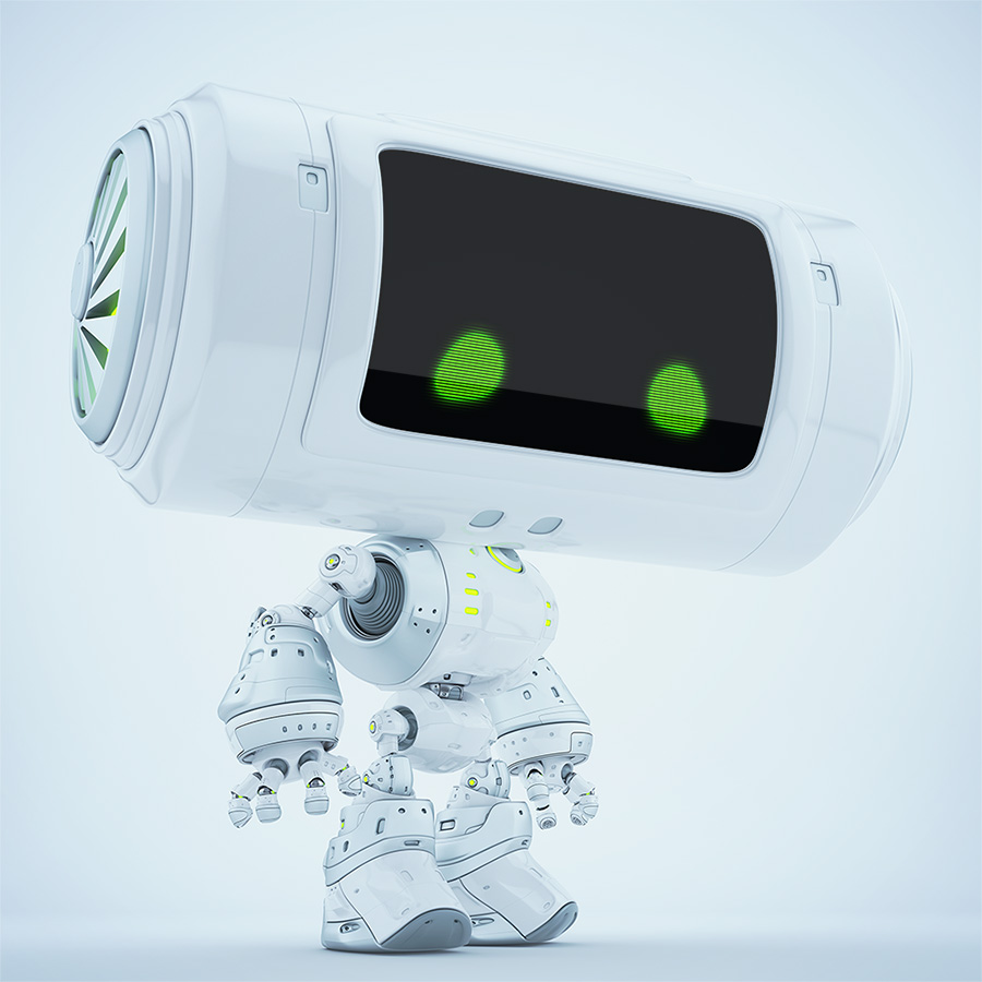Snow white big head robot with ventilation system on barrel looking head. Portable toy concept for on table air conditioning