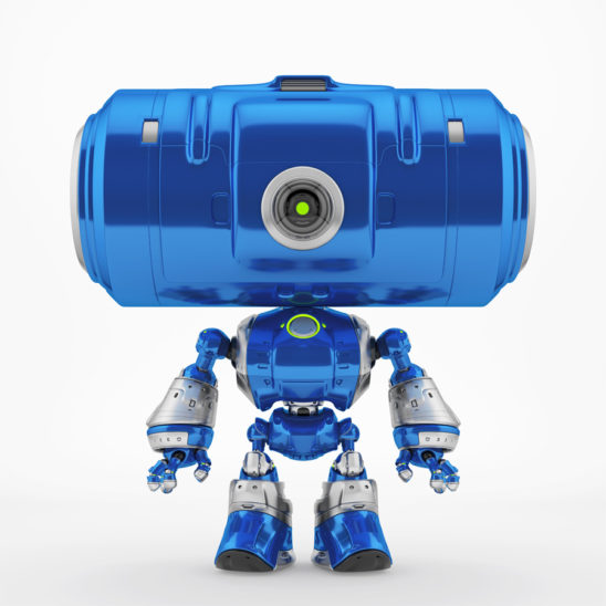 Big tube head robot with eye camera