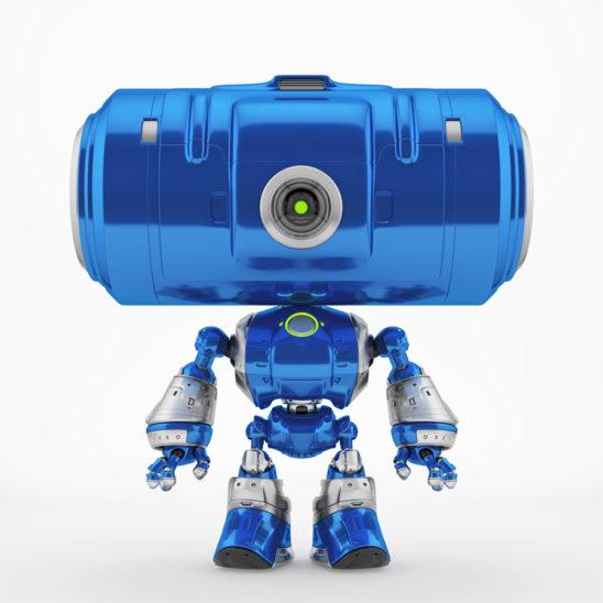 Big tube head robot with eye camera