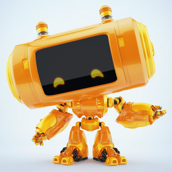 Unusual orange big head robot with antennaes gesturing