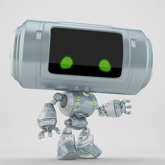 Grey big head robot with with green eyes gesturing