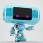 Turquoise robot with big tube head and violet smiling eyes