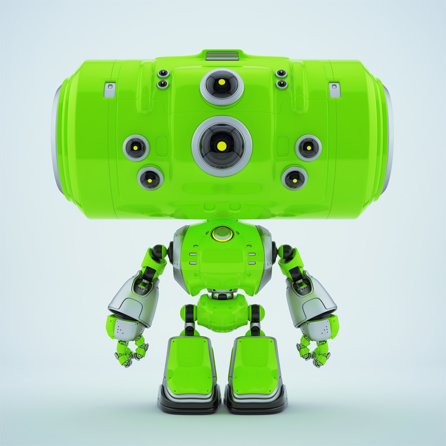 Extra bright green robot companion with eyes cameras in different sizes