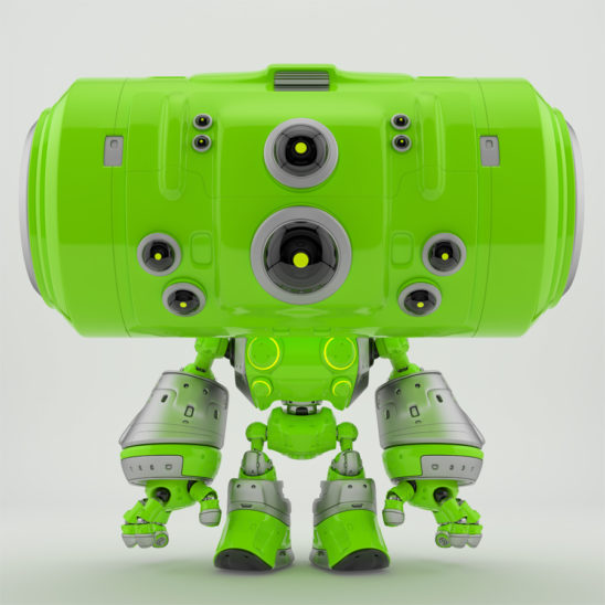 Cute green robot with big head and many cameras