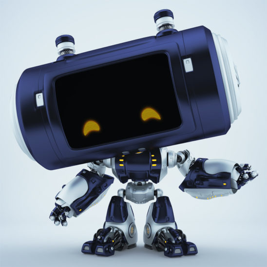 Dark blue big head robot with orange smiling eyes gesturing