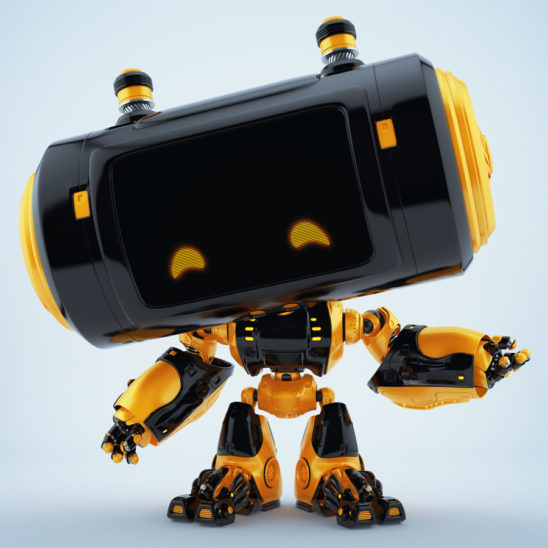 Gesturing black-orange robot with big head and little fancy antennaes