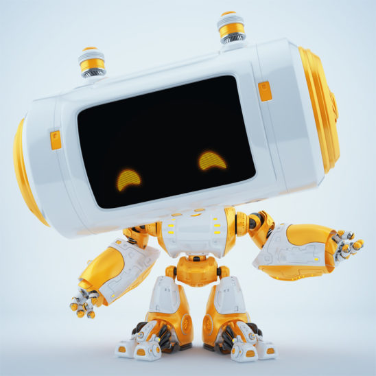 Gesturing white-orange robot with big head and little fancy antennaes