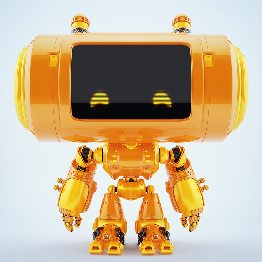 1375 big head robot thumb reflection