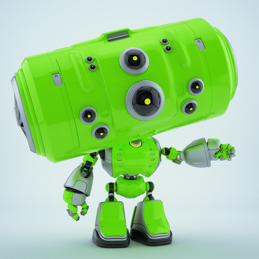 Green robotic toy with big head gesturing