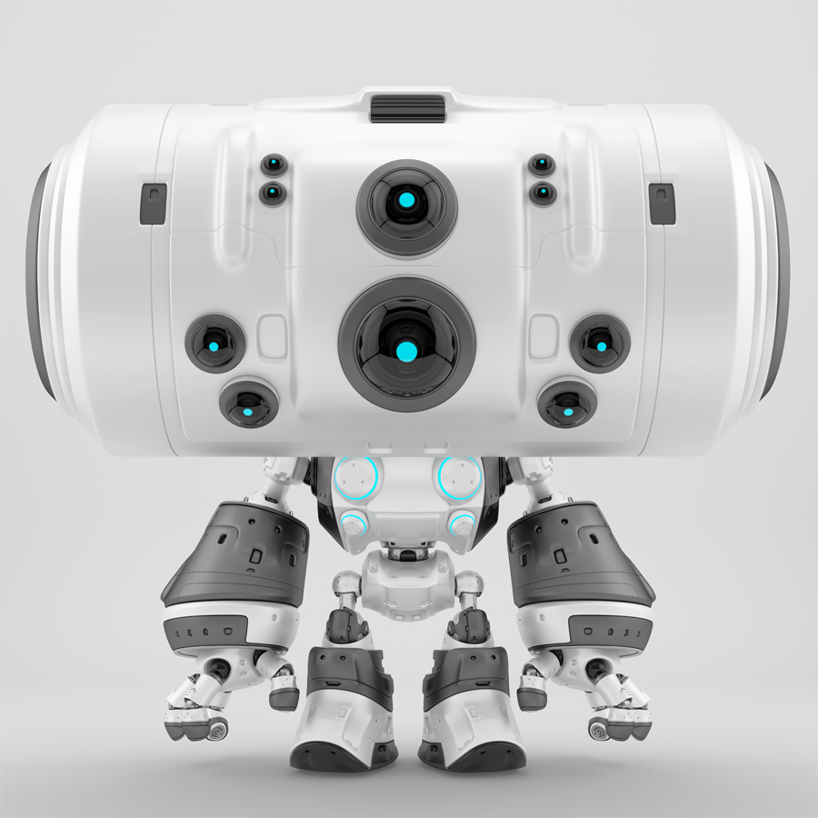 Futuristic grey-white plastic robot toy with big head and eight eyes cameras in different sizes
