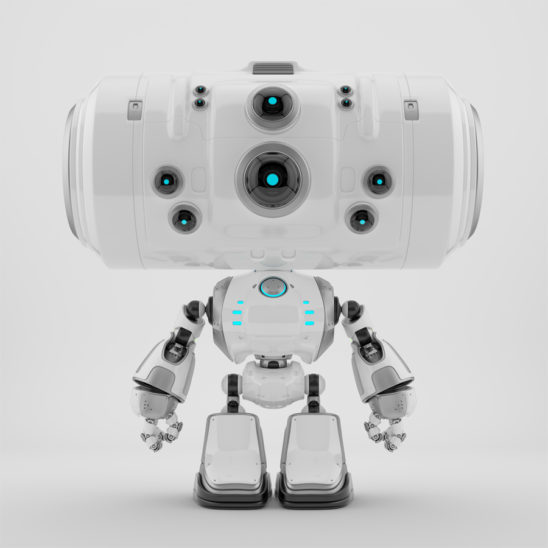 Futuristic white plastic robot toy with big head and ten eyes cameras in different sizes