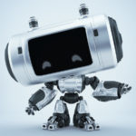 Black-silver robot with big head and smart locators