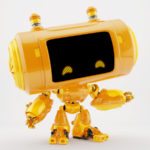 Orange robotic toy - gadget featuring powerbank and air conditioning