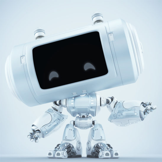 White matte robot with big head and smart locators