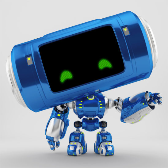 Cute blue robotic toy with big head and lifted arm