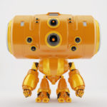 Big head orange robotic toy with many control camera - eyes