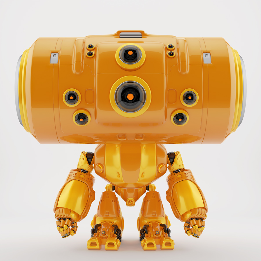 Big head orange robotic toy with many control camera - eyes