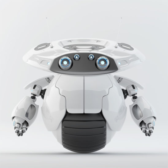 Roller bot. Futuristic robot on one wheel for quick support and delivery purposes