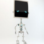 Unique silver slim bone robot with sad digital eyes. 3d render