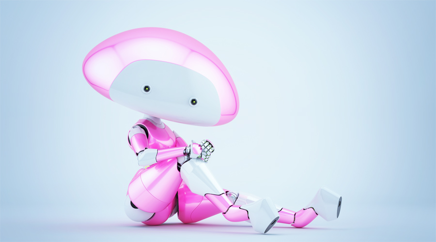 Pink-white mushroom lady robot in sexy sitting pose