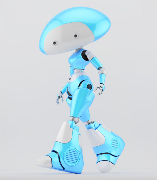 Walking blue-white mushroom lady robot