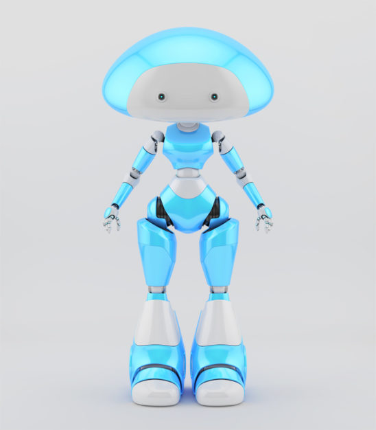 Smooth and lovely character - mushroom lady robot in blue