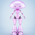 Smooth and lovely character - mushroom lady robot in pink