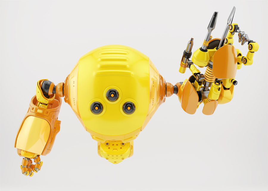 Slogger robot character with multifunctional instrument