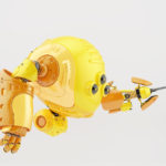 Yellow slogger robot holding screwdriver