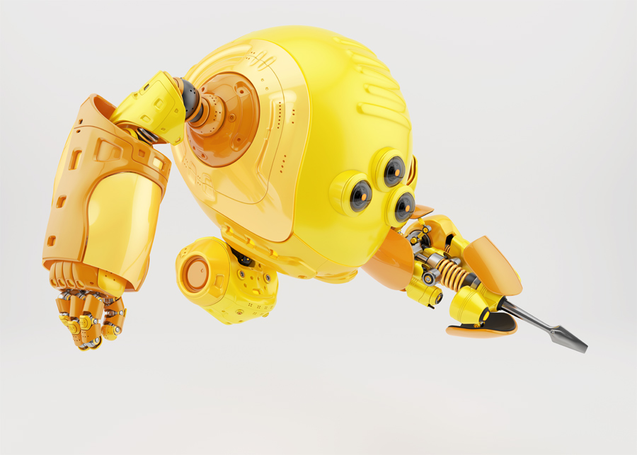 Yellow slogger robot holding screwdriver in side render