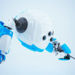 White-blue robotic slogger with screwdriver
