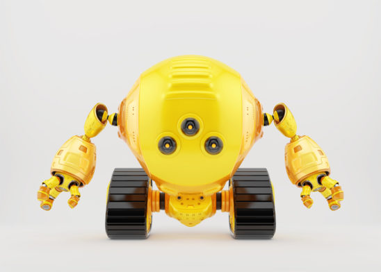 Bright yellow slogger robot on tracks with three camera eyes