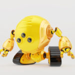 Bright yellow slogger robot on tracks with three camera eyes in side angle