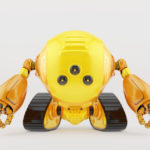 Bright slogger robot on tracks