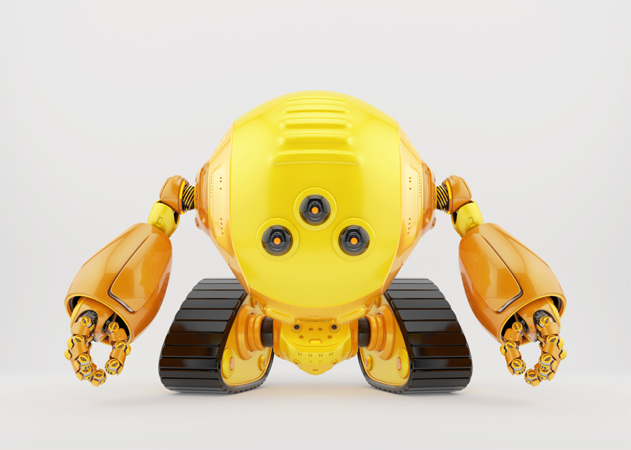 Bright slogger robot on tracks