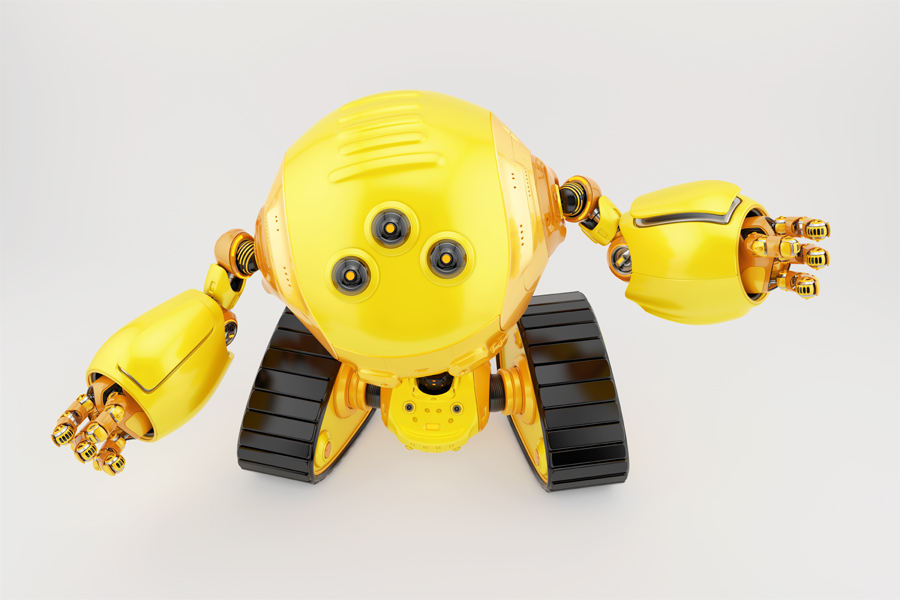 Slogger bot on tracks gesturing. Top view