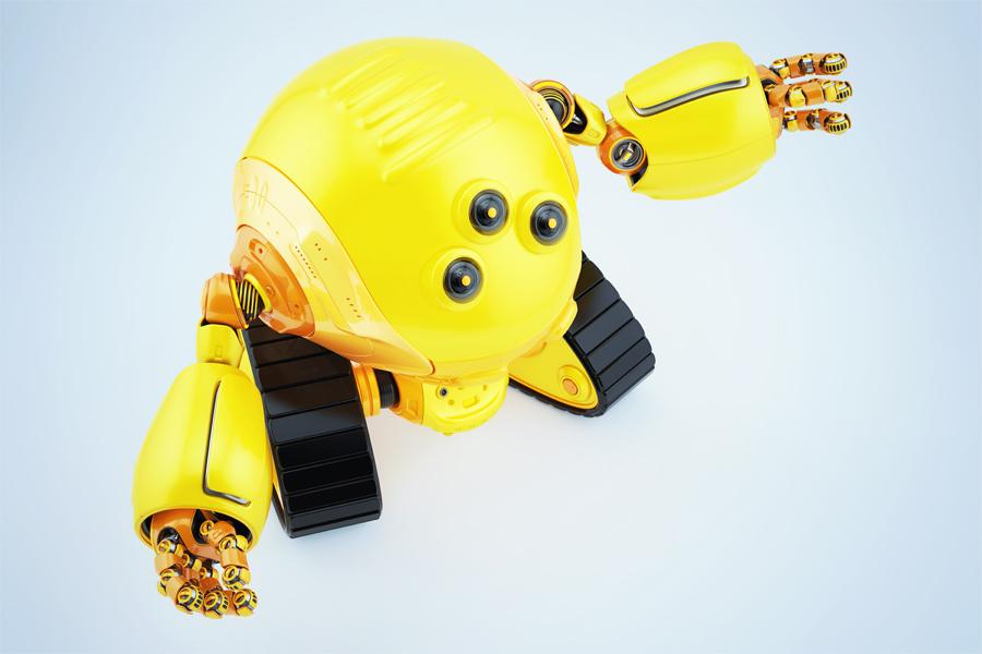 Slogger bot on tracks gesturing