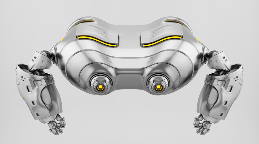 Silver look-see robot top view