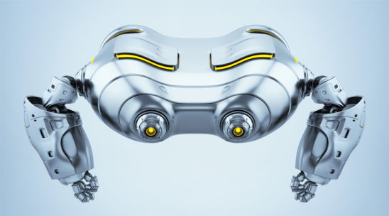 Silver look-see robot top view. Futuristic aerial creature render