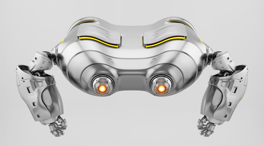 Silver look-see robot top view. Futuristic aerial creature with bright glowing eyes