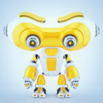 Bright yellow and white look-see robotic character with huge binocular head