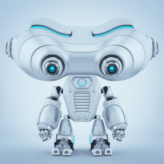 Brushed look-see robot with blue eyes